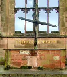 "The ""Charred Cross"" - City of Coventry, England - The Cathedral Church of St. Michael. After the war,  two of the charred beams that had fallen in the shape of a cross were set on the altar and three of the medieval nails were bound into the shape of a cross.  The people of Coventry found the grace to overcome the anger they felt toward their enemies who destroyed their Cathedral and almost destroyed their entire city."
