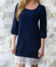 Look at this Navy Annalise Lace Dress on #zulily today!