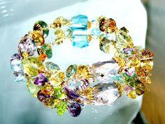 14k золото золото заполненные microfaceted вогнутый вырез мульти драгоценный камень браслет потрясающий