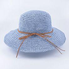 2017 verão Sólida Ráfia Aba Larga Floppy chapéu de sol para as mulheres meninas Artesanal crochê chapéus De Palha Panamá Chapéu de praia Dobrável anti UV
