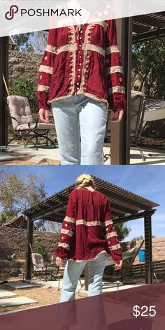 Free People Ethnic Tunic Free People Maroon Tunic!! Super cute and gives off the bohemian vibe! 🍂🍂 Free People Tops Tunics