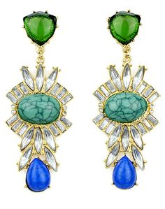 Green Gemstone Gold Drop Earrings 8.26
