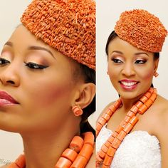Nkiru, our #BellaNaijaBride with her traditional beads and regal make-up by BM Pro. Nigerian wedding, Rivers wedding, coral beads