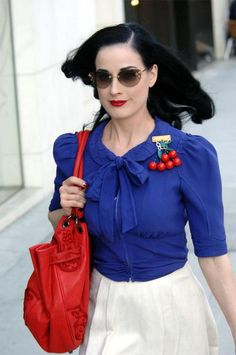 Dita Von Teese in red, white and blue. Ugh looks at that amazing cherry bakelite brooch.