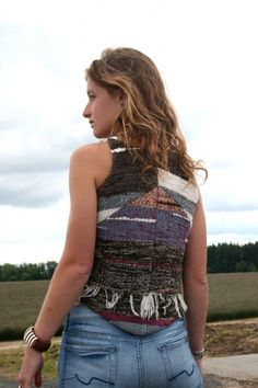 Rear view of Mt. Everest vest by Adam Arnold, woven by Kyla Mucci