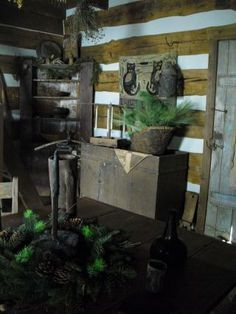 Primitive Log Cabin Christmas | love log cabins More