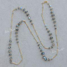 Lotus Mann Super A labradorite long silver plated necklace
