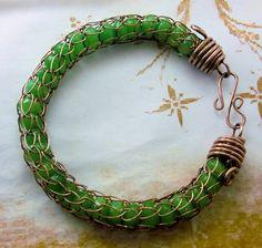 R974 Genuine Peridot Bracelet Viking Knit Antiqued Copper Jewelry Natu   Jewelry_in_Harmony - Jewelry on ArtFire