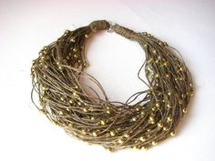 Golden raindrops  linen necklace by GreyHeartOfStone on Etsy, $32.00