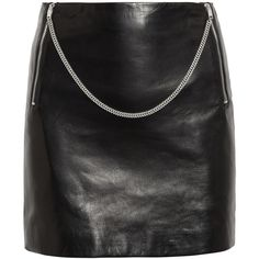 Saint Laurent Chain-trimmed leather mini skirt ($690) ❤ liked on Polyvore featuring skirts, mini skirts, bottoms, saias, leather, black, stretchy skirt, short skirts, leather skirt and leather zipper skirt