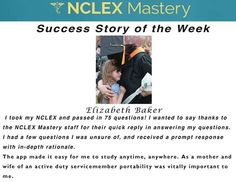 Elizabeth Baker is our #NCLEX Mastery Success Story of the Week. Congratulations on passing your NCLEX, and becoming a #nurse. We're glad we could help play a part in you achieving your dreams! If you want to know how Elizabeth passed or if you need help on your NCLEX studies visit: www.nclexmastery.com.