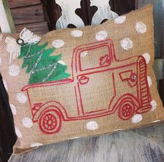 Red Pickup Truck 14' x 11' Burlap Pillow by LucysSouthernTwine