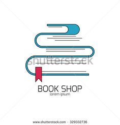 Book shop logo. Vector emblem for bookstore or library. Web icon or sign