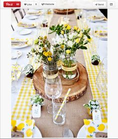 Honestly, this tablescape is too cute to exist. The paper straws, the checkered tablecloth, the piece of wood the flowers are sitting on and the little jars of jam with name tags on them? This can't be real life.