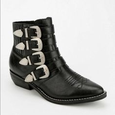 Kelsi Dagger Boots Kelsi Dagger black buckle boots, worn once only! Great condition!! Kelsi Dagger Shoes Ankle Boots & Booties