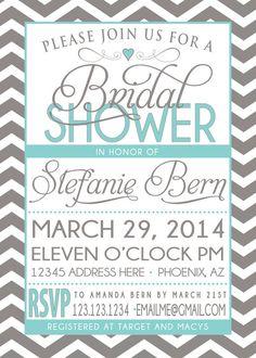 BRIDAL SHOWER INVITATION tiffany blue and grey blue