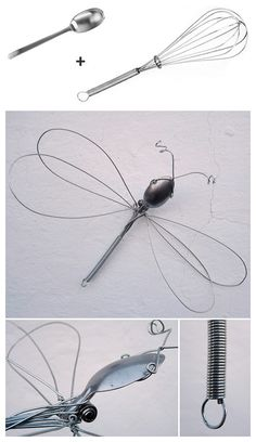 Dragonfly wire sculpture from a whisk and spoon. Dragonfly wire sculpture from a whisk and spoon. Wire Crafts, Metal Crafts, Fun Crafts, Arts And Crafts, Sculptures Sur Fil, Wire Sculptures, Silverware Art, Cutlery, Metal Garden Art
