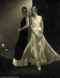 Ying and yang: Model Mario Morehouse and another unidentified model post in dresses by Vionnet in 1930. The Steichen photo was published in the October 27, 1930 issue of Vogue