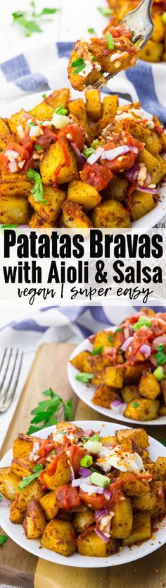 These papas bravas with vegan aioli and salsa are the perfect comfort food or also party food! Theyre super easy to make and ready in about 30 minutes! For more vegan recipes check out veganheaven Vegan Appetizers, Vegan Dinner Recipes, Veggie Recipes, Whole Food Recipes, Vegetarian Recipes, Cooking Recipes, Healthy Recipes, Vegan Meals, Potato Recipes