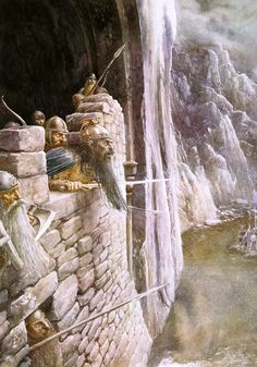 """The Hobbit: Thorin in the Lonely Mountain """"I will not parley with armed men at my gate!""""- Alan Lee."""