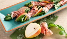 Appetizer : Proscuitto Pear Argula Rolls - (Untested) Ingred : Cream Cheese, Gorgonzola, Prosciutto, Arugula (Rocket), Pear, Walnuts (Sub with Pecan), Balsamic Glaze or Balsamic Vinegar (pref)