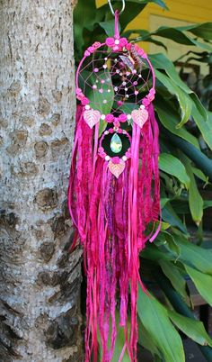 Dream Catcher  Fantasy wall hanging  Pink  by RavenshiresRealm