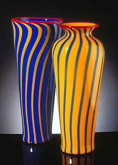 Blue Cylinder and Yellow vase  Blown glass vases. Pictured left - Blue cylinder with yellow stripes and red trim. Hanson Art Glass