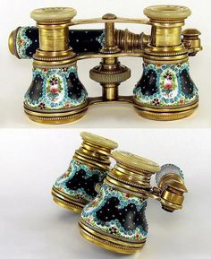 f5a7320d5cc Antique french enamel jeweled  mother of pearl opera glasses.