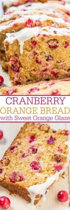 Cranberry Orange Bread with Sweet Orange Glaze - Soft, easy, and loaded with big juicy cranberries! The sweet orange glaze pairs perfectly with the tart berries and it's so good! (desserts with oats kids) Cranberry Dessert, Cranberry Orange Bread, Cranberry Recipes, Cranberry Muffins, Orange Recipes, Cranberry Sauce, Just Desserts, Delicious Desserts, Dessert Recipes