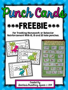 Punch Cards for Homework / Behavior Reinforcement / Rewards ***FREEBIE***  These cute little punch cards can be used to keep track of the homework activities your students turn in or as part of an individual behavior reinforcement plan.