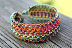 Macrame Hemp Cuff Bracelet - Colors of the Rainbow on Etsy, $13.00