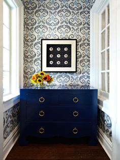 Design firm Chango & Co featured Indo Ikat 5594 Blue and Navy in the foyer of a client's home.