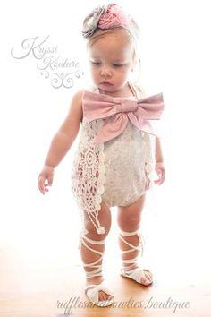 95ac451a585 Kryssi Kouture Grey   Dusty Rose Lace Ruffle Romper - Lace Baby Romper -  Ruffle Butt