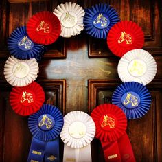 4th of July wreath made from horse show ribbons