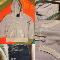 Lavender AE hoodie CHEAPER ON MERCRI app (discount code when you sign up is SKFNCV for 2$ credit). SAVE BY BUNDLING!                                                    1 for $15--2 for $22-- or 3 for $30.                         Beautiful trim on the hood! And cute draw strings! American Eagle Outfitters Tops Sweatshirts & Hoodies