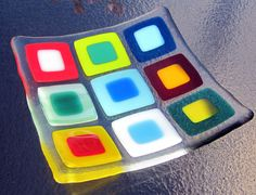 Fused Glass Plate, Bright Double Squares. $30.00, via Etsy.