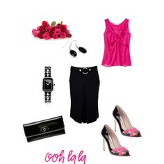Some like it HOT.... pink top... black skirt... and heels...