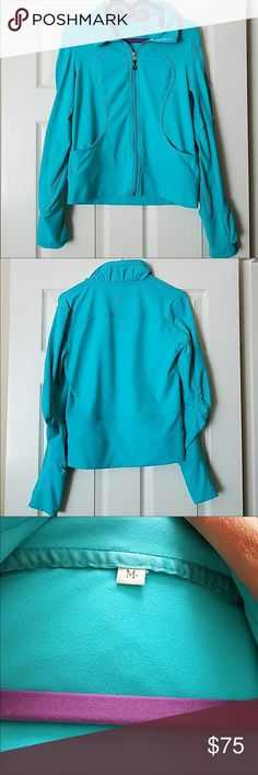 🍋 Lululemon jacket Gorgeous teal Lululemon jacket with thumb holes and front pockets. Excellent condition, no signs of wear whatsoever. I love love love this but it's a little too fitted for my liking. Would be willing to trade for other Lulu items but only with members who have previous trade experience lululemon athletica Jackets & Coats