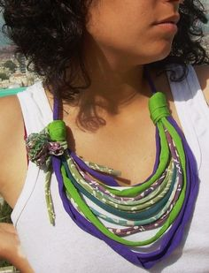 african style fabric short necklace - eco friendly  t shirt recycle jewelry with fabric flower-ethic jewelry spring summer fashion. $32.00, via Etsy.