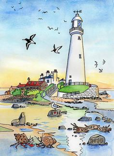 Illustrated maps, landscapes, townscapes and wildlife of Northumberland and the North East by artist and illustrator Sarah Farooqi. Special Wedding Gifts, City Drawing, Christmas Decoupage, Lighthouse Painting, Northern England, Drawing Projects, City Art, Giclee Print, Illustration Art