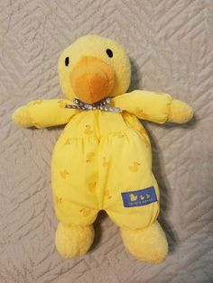 Carter's yellow duck rattle blue ribbon cotton body duckies #Carters