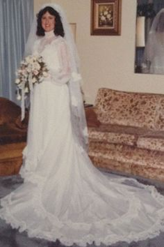 1980s  Cathedral trains, lace-edged frills, full-length veils, and oversized bouquets made a comeback during the '80s.    Pictured: Audrey O'Gorman, married on May 22, 1982.