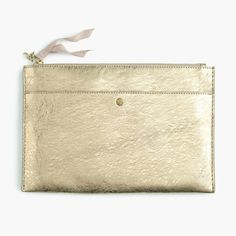 The J.Crew Valentine's Day Shop: women's large pouch in metallic Italian leather.