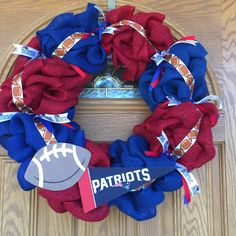 New England Patriots Burlap Wreath
