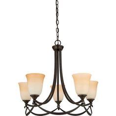 allen + roth Winnsboro 5-Light Oil-Rubbed Bronze Hardwired Standard Chandelier