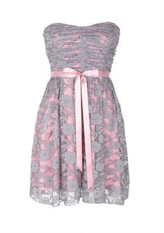 Grey and Pink Lace Dress - Polyvore