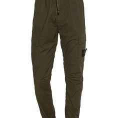STONE ISLAND Lightweight Logo Patch Olive Hose mit elastischem Bund - Neuheiten Stone Island, Parachute Pants, Khaki Pants, Patches, Logos, Winter, Clothing, Fashion, Traditional Fashion