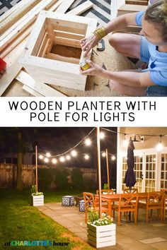 My favorite things about an evening on the patio are planters overflowing with summer flowers and string lights overhead. These wooden planters are both. DIY planters with poles for string lights built right in. Backyard Plan, Backyard Patio Designs, Backyard Projects, Diy Patio, Outdoor Projects, Backyard Landscaping, Backyard Retreat, Patio Ideas, Backyard Ideas