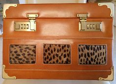 Rare-vanity-cuir-camel-laiton-dore-panthere-veritable-coffret-code-qualite-luxe