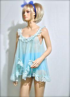 1960s Lingerie Baby Doll Vintage Nightie. . . Remember wearing nighties like these. . felt so wonderful!!!